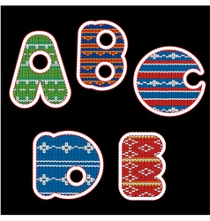 Knitted alphabet - abcde vector