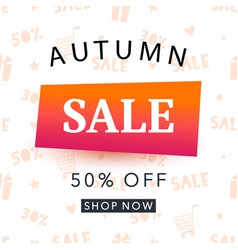 autumn sale banner template shopping promotion vector image vector image