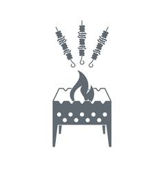 Brazier with shashlik icon vector