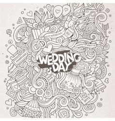 Cartoon cute doodles hand drawn wedding vector image