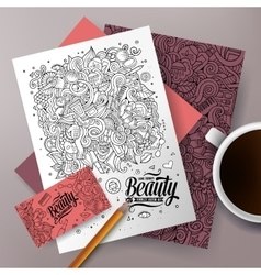 Cartoon doodles cosmetic corporate identity set vector