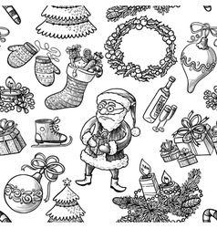Christmas doodle seamless vector image vector image