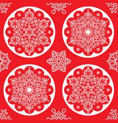 christmas folk pattern - white snowflake ma vector image vector image