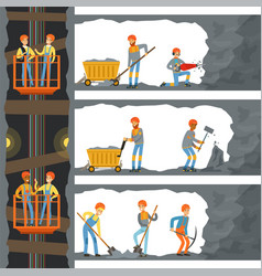 Coal industry mine with many levels workers vector
