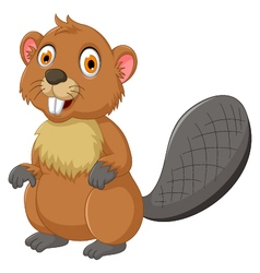 cute beaver cartoon posing vector image vector image