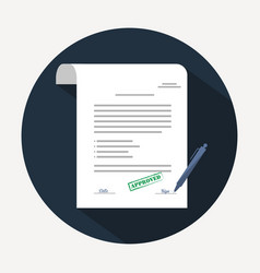 document icon agreement contract in flat style vector image vector image