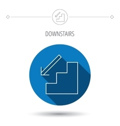 Downstairs icon Direction arrow sign vector image