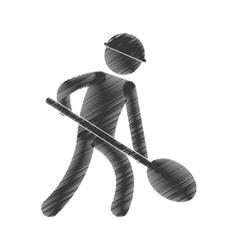drawing worker labor mine shovel figure pictogram vector image vector image