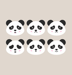flat panda heads vector image vector image