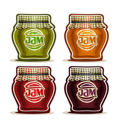 Fruit jam in glass pot vector