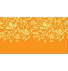 Golden floral embroidery horizontal border vector
