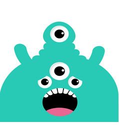 green monster head with four eyes teeth tongue vector image