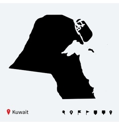 High detailed map of kuwait with navigation pins vector