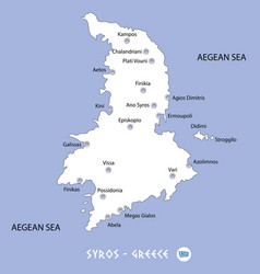 Island of syros in greece white map and blue vector