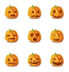 Isolated Halloween Pumpkin Emoticons Set vector image vector image