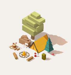 Isometric low poly campsite vector
