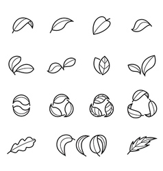 Line leaves icons vector image vector image