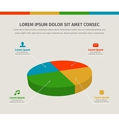 Modern 3d pie graph for web or brochures design vector