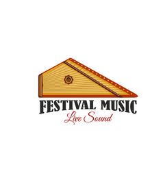 music festival icon with folk musical instrument vector image