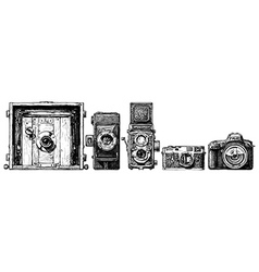 photo cameras evolution set vector image