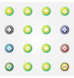 Poker chips bright icons vector image vector image