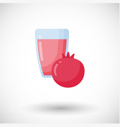 Pomegranate juice flat icon vector
