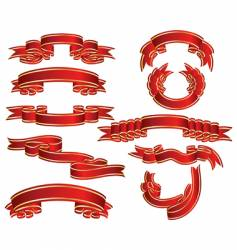 red ribbons set vector image vector image