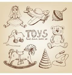 Retro hand drawn toys vector
