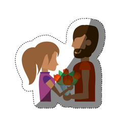 Romantic couple with flowers shadow vector