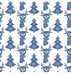 Seamless Christmas pattern with deers and trees vector image vector image