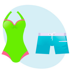 set swimsuit and swimming trunks vector image