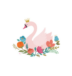 Swan lake greeting card poster and vector