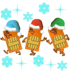 Three SIM cards go in santa outfit vector image vector image