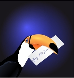 Toucan head with new year card vector