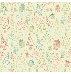 Vintage Christmas Seamless Pattern vector image vector image