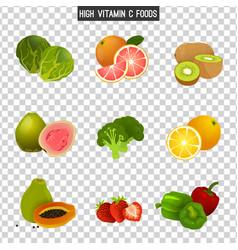 vitamin c in food vector image vector image