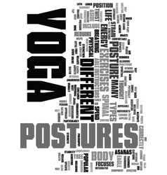 Yoga postures text word cloud concept vector