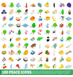 100 peace icons set isometric 3d style vector image