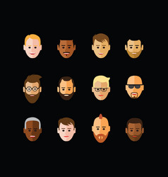 Icon of faces on black background vector