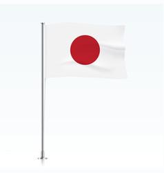 japan flag waving on a metallic pole vector image