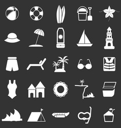 Beach icons on black background vector