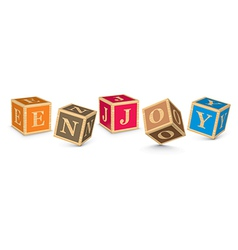 Word enjoy written with alphabet blocks vector