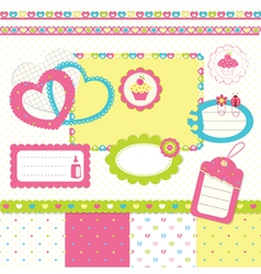 Birthday scrapbook set 3 vector