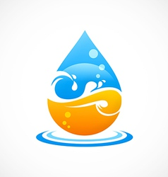 Wave water drop abstract logo vector