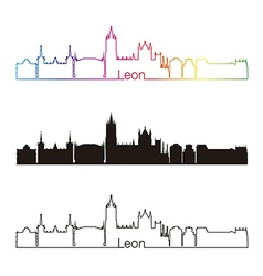 Leon skyline linear style with rainbow vector