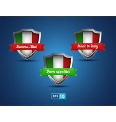 Italy shields with red and green ribbons vector