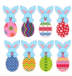 Eight little bunnies with easter eggs vector