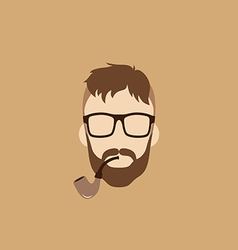Tobacco pipe hipster guy vector