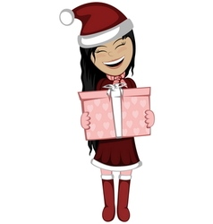 Santa girl with surprise vector