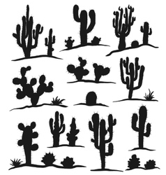 Set of cactuses isolated on white vector